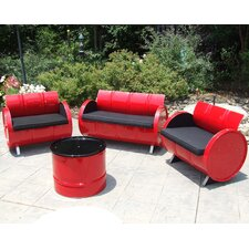 Loft Indoor/Outdoor 4 Piece Seating Group with Cushion by Drum Works Furniture
