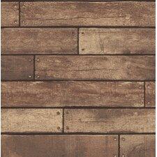 """Essentials Weathered Nailhead Plank 33' x 20.5"""" Wood Wallpaper Roll"""