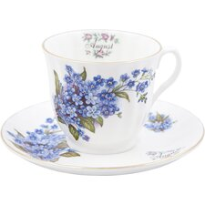 Flowers of the Month August 30cm Bone China Cup and Saucer
