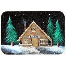 Welcome Lodge Christmas Log Home Kitchen/Bath Mat