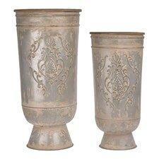 2 Piece Metal Floor Vase Set