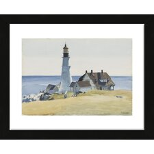 'Lighthouse and Buildings, Portland Head, 1927' by Edward Hopper Framed Painting Print