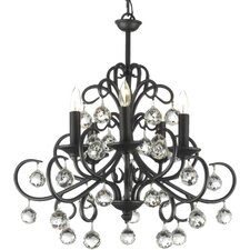 Clemence 5-Light Wrought Iron Base Crystal Chandelier