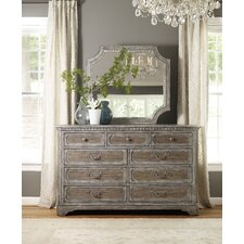 True Vintage 9 Drawer Dresser with Mirror by Hooker Furniture