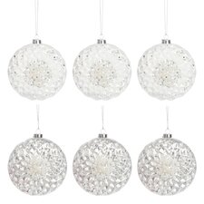 6-tlg. 6-tlg. Weihnachtskugel-Set Flat Lace and Sequins aus Glas