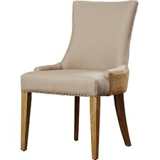 Alpha Centauri Upholstered Side Chair in Linen - Two Toned Beige with Carpenter Nailheads