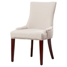 Alpha Centauri Upholstered Side Chair in Linen - Beige with Nickel Nailheads