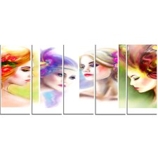 Colorful Women Face Collage 5 Piece Graphic Art on Wrapped Canvas Set