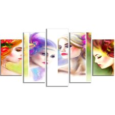 'Colorful Women Face Collage' 5 Piece Graphic Art on Wrapped Canvas Set