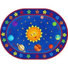 Out of This World Alphabet Blue Area Rug