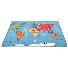 Animals of the World Activity Blue Area Rug