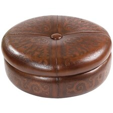 Colonial Super Jumbo Leather Ottoman by New World Trading