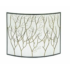 Single Panel Iron/Brass Fireplace Screen