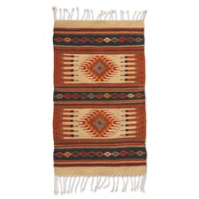 Zapotec Hand-Woven Orange/Beige Area Rug