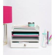 Francesca Decorative Wood Letter Tray Desktop Organizer