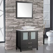 "Brodsky 30"" Single Sink Bathroom Vanity Set with Mirror"