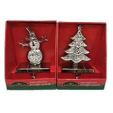 2 Piece Christmas Tree and Snowman Stocking Holder Set