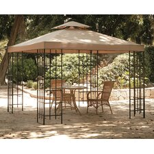 3m x 3m Fabric/Lacquered Iron Gazebo