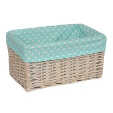 Storage Willow Basket with Spotty Lining