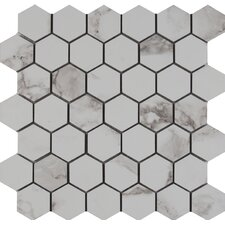 "Statuario 2"" x 2"" Hexagon Porcelain Mosaic Tile in Matte"