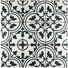 "Artea 9.75"" x 9.75"" Porcelain Patterned/Field Tile in White/Green"