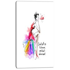'Pretty Fashion Girl' Painting Print on Wrapped Canvas in Pink