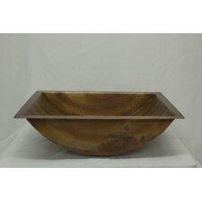 Canoe Hammered Copper Rectangular Undermount Bathroom Sink
