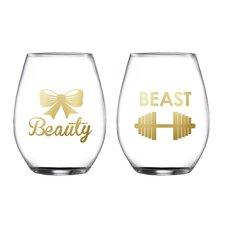 2 Piece Beauty/Beast Stemless Glasses 18.3 Oz Drinkware Set