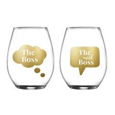 2 Piece Boss/Real Stemless Glasses 18.3 Oz Drinkware Set