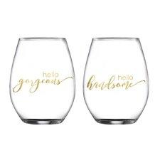 2 Piece Gorgeous/Handsome Stemless Glasses 18.3 Oz Drinkware Set