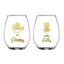 2 Piece Dame/Fella Stemless Glasses 18.3 Oz Drinkware Set