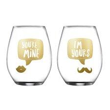 2 Piece Yours/Mine Stemless Glasses 18.3 Oz Drinkware Set