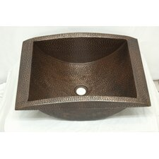 Apron Canoe Hammered Copper Rectangular Undermount Bathroom Sink