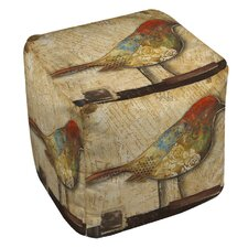 Bird of Collage 2 Ottoman by Manual Woodworkers & Weavers