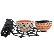 8 oz. 3 Piece Bowl and Halloween Spider Web Runner Set