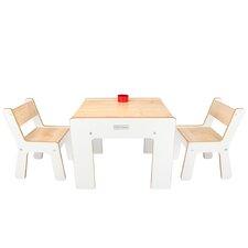 3-tlg. quadratisches Kindertisch und Stuhl-Set
