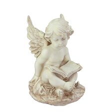 Heavenly Gardens Sitting Cherub Angel with Book Outdoor Patio Garden Statue