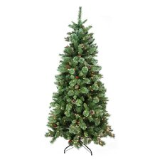 6.5' Green Mixed Pine and Glitter Artificial Christmas Tree with 300 Clear Lights with Stand