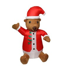 Inflatable Lighted Cute Bear with Plush Face Christmas Yard Art Decoration