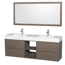 Daniella 72 Double Gray Oak Bathroom Vanity Set with Mirror by Wyndham Collection