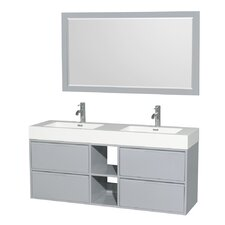 Daniella 60 Double Dove Gray Bathroom Vanity Set with Mirror by Wyndham Collection