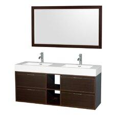Daniella 60 Double Espresso Bathroom Vanity Set with Mirror by Wyndham Collection