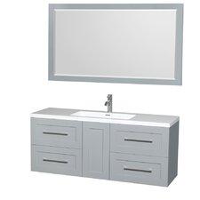 Olivia 60 Single Dove Gray Bathroom Vanity Set with Mirror by Wyndham Collection