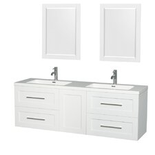 Olivia 72 Double Glossy White Bathroom Vanity Set with Mirror by Wyndham Collection