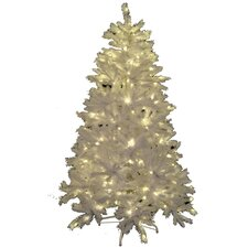 18' Classic White Spruce Artificial Christmas Tree with LED Warm White Lights and Metal Stand