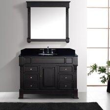 Victoria 47 Single Bathroom Vanity Set with Black Galaxy Top and Mirror by Virtu USA