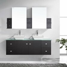 Ultra Modern 61 Double Bathroom Vanity Set with Tempered Glass Top and Mirror by Virtu USA