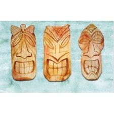 'Tiki Faces' Graphic Art