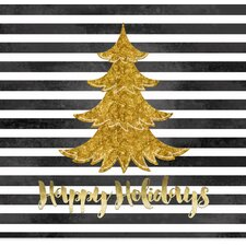 'Black and White Stripe Gold Christmas Tree' Graphic Art