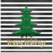 'Black and White Stripe Green Christmas Tree' Graphic Art in Green